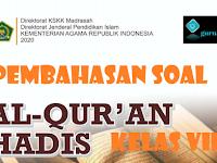 Pembahasan Soal Al-Quran Hadis Semester Genap Kelas VIII Bab IV BACAAN GHARIB DALAM AL-QUR'AN  KMA 183 Tahun 2019