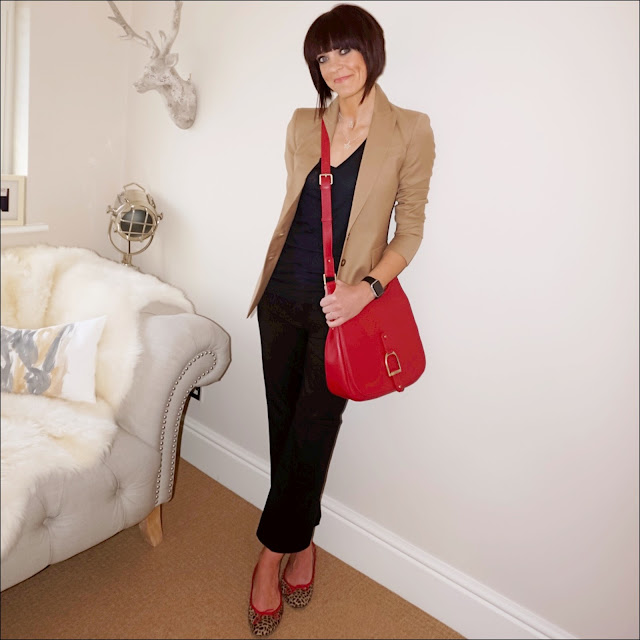 My Midlife fashion, Baukjen Westbury blazer, village england sway cross body bag, j crew vintage v neck t shirt, j crew cropped kick flare trousers, french sole india leopard print ballet shoes