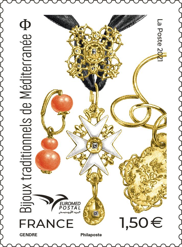 Timbre bijoux traditionnels de Méditerranée