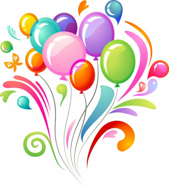 happy birthday flowers and balloons