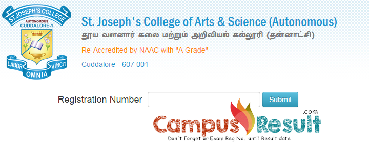 St. Joseph's College Arts & Science Cuddalore result, sjctnc.edu.in/result,