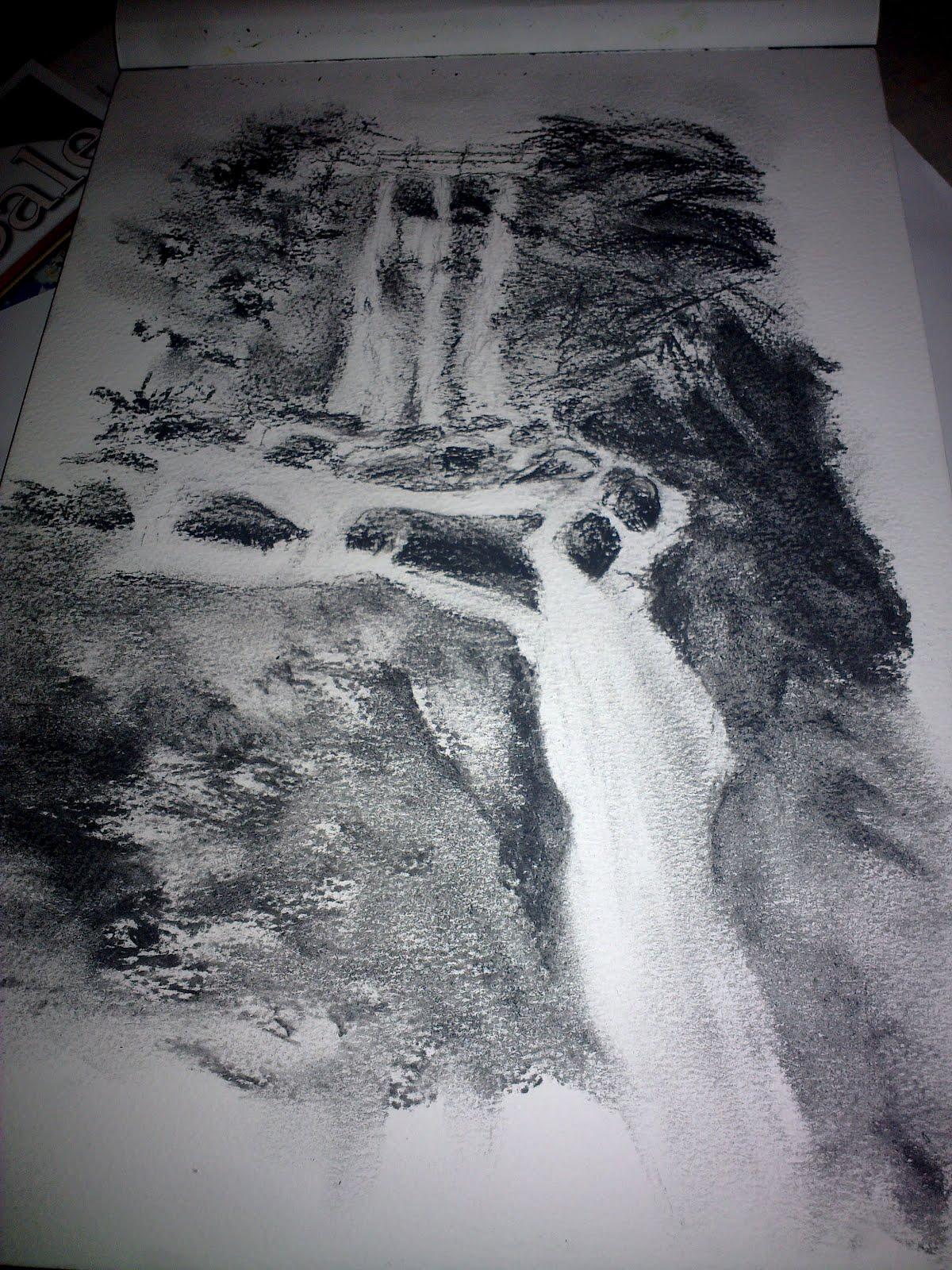 Candy hamilton craig pencil drawing of a waterfall