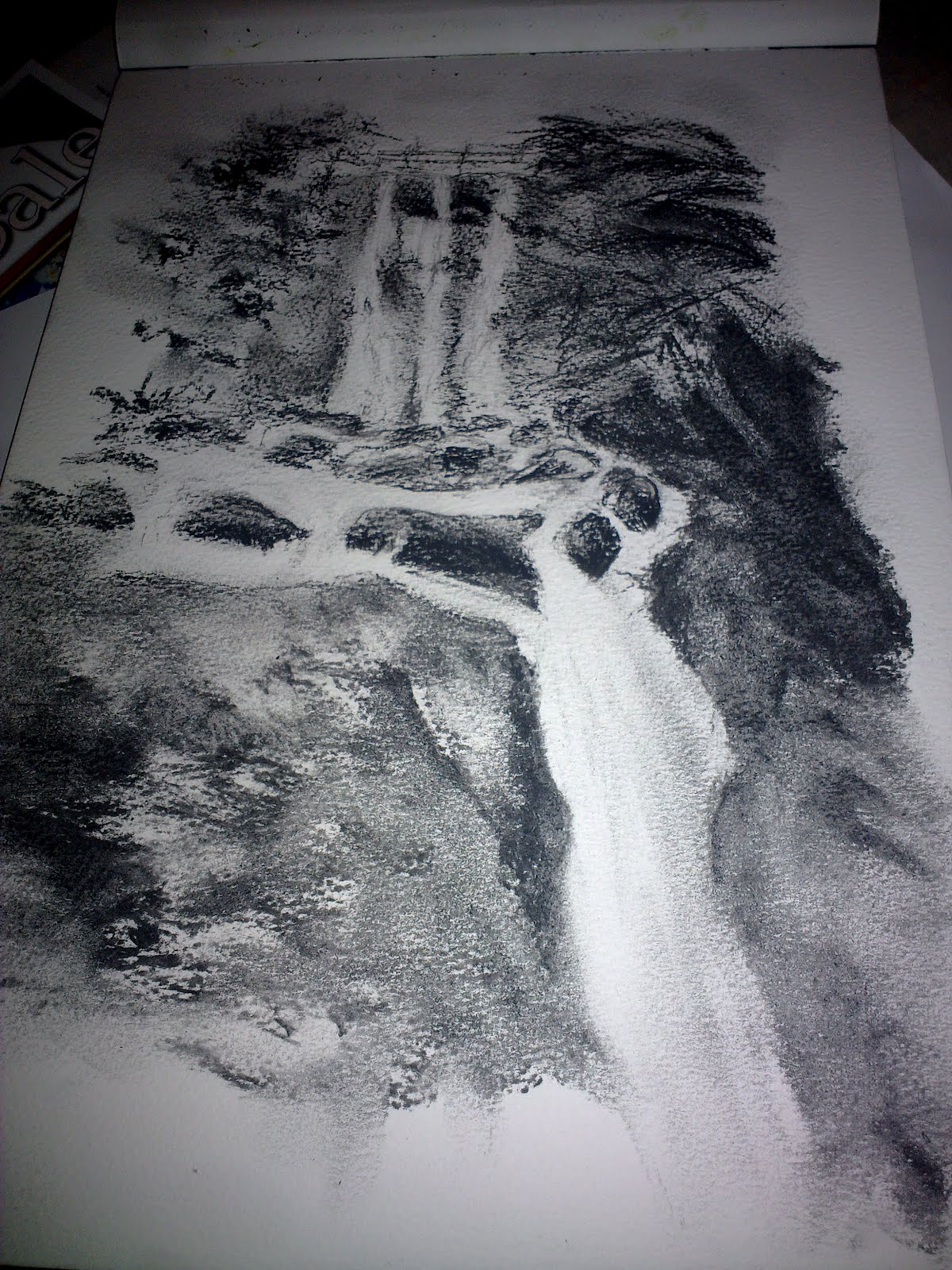 Candy Hamilton- Craig: pencil drawing of a waterfall
