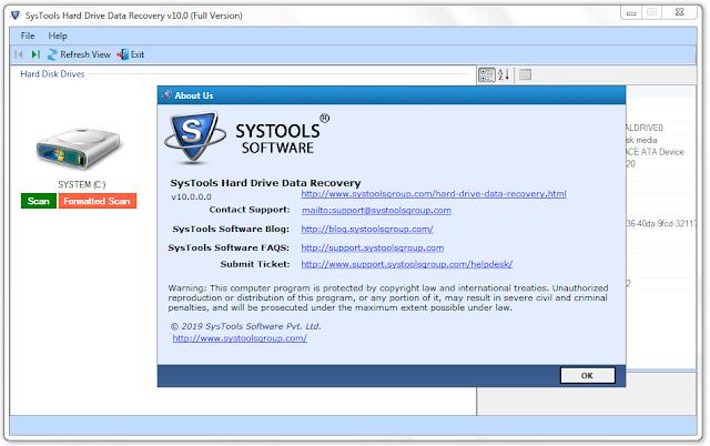 Screenshot SysTools Hard Drive Data Recovery 10.0.0.0 Full Version