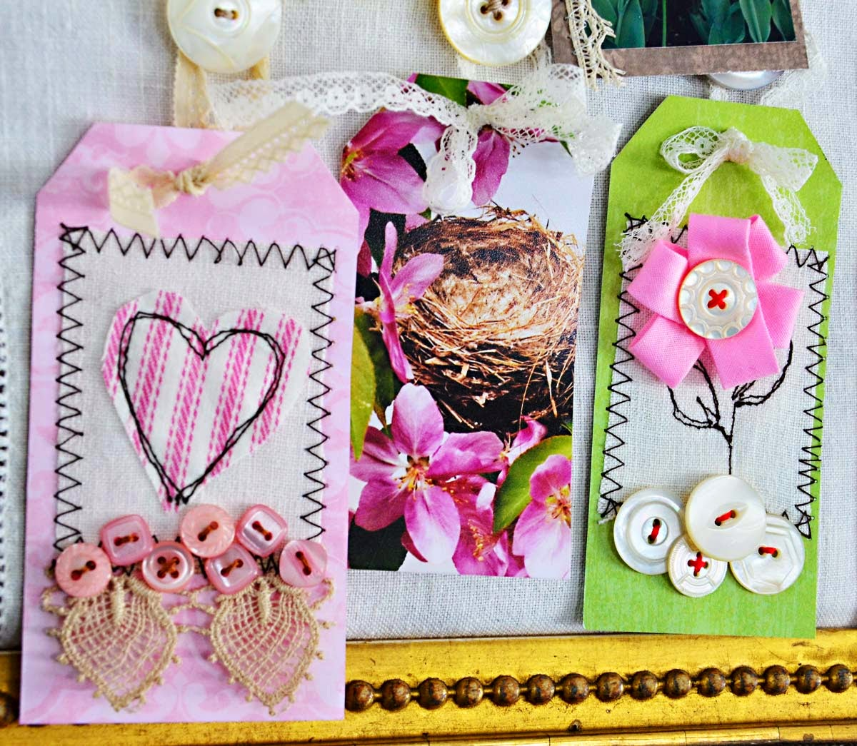 paper gift tags with buttons by Jeanne Selep