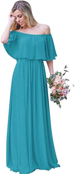 Pretty Turquoise Chiffon Bridesmaid Dresses