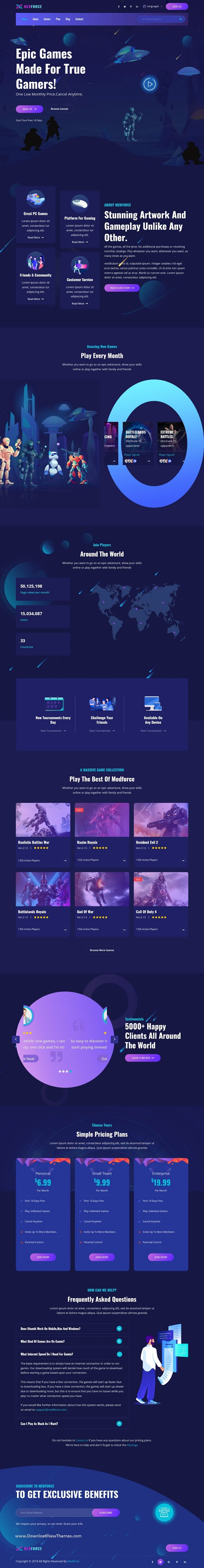 Gaming Subscription Website Template