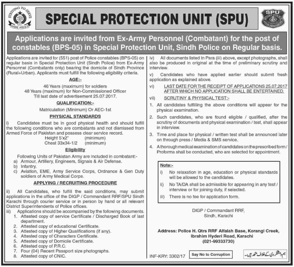 Sindh Police Special Protection Unit Jobs 7 July 2017
