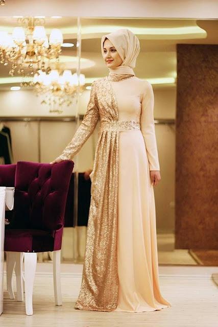 فستان سهرة وسواريه ذهبي ملكي للمحجبات موديل 2020