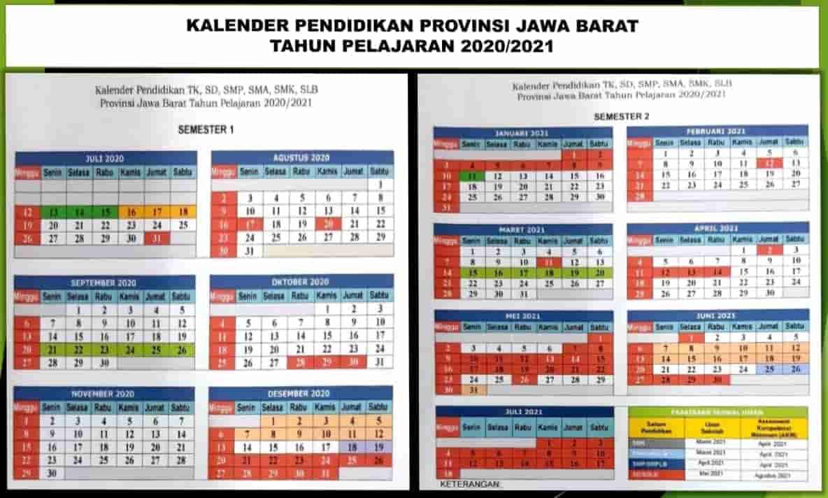 Kalender Pendidikan Provinsi Jawa Barat Tahun Pelajaran 2020/2021