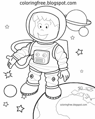 Free fun artwork simple solar system cartoon spaceman astronaut coloring picture for preschool kids