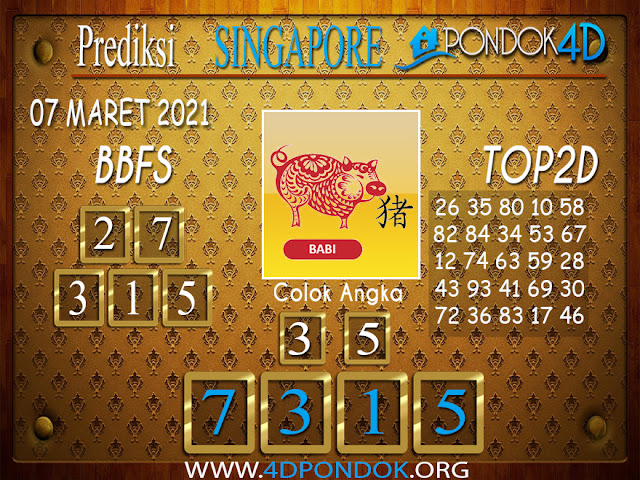 Prediksi Togel SINGAPORE PONDOK4D 07 APRIL 2021