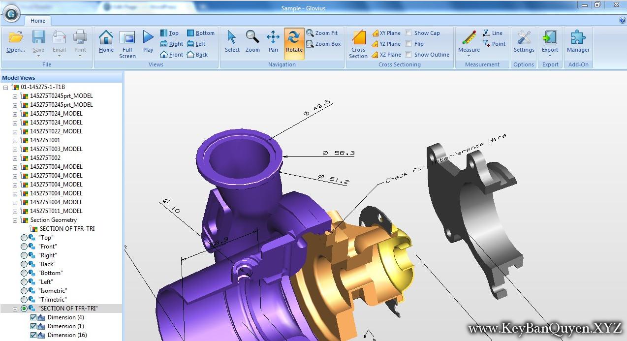 Geometric Glovius Pro 5.1.0.100 Full Key Download,Hỗ trợ Xem, phân tích và xuất tệp CAD 3D đẳng cấp