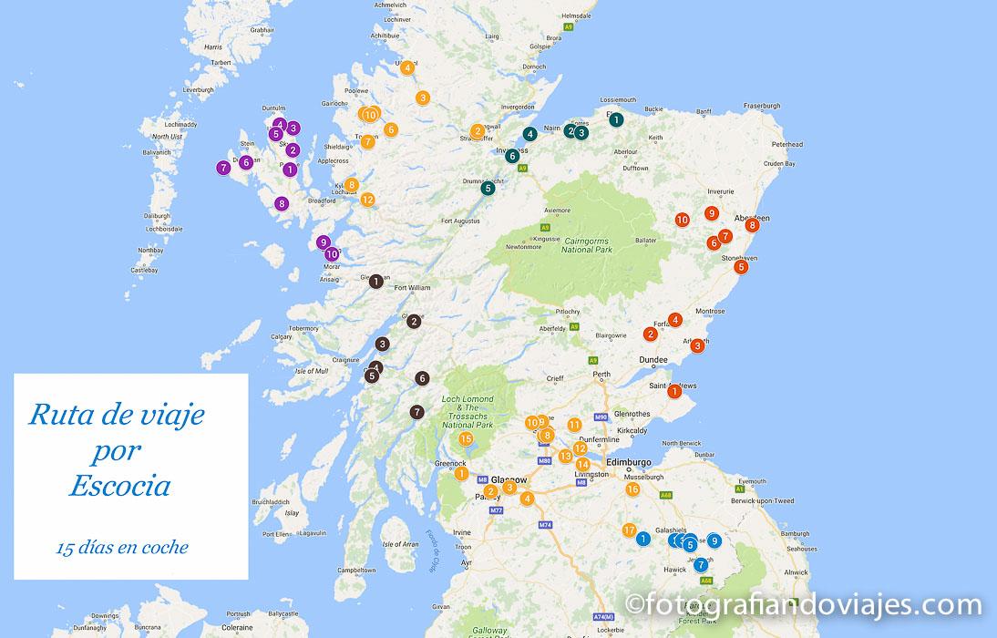 Recorrido viaje en coche por libre en Escocia