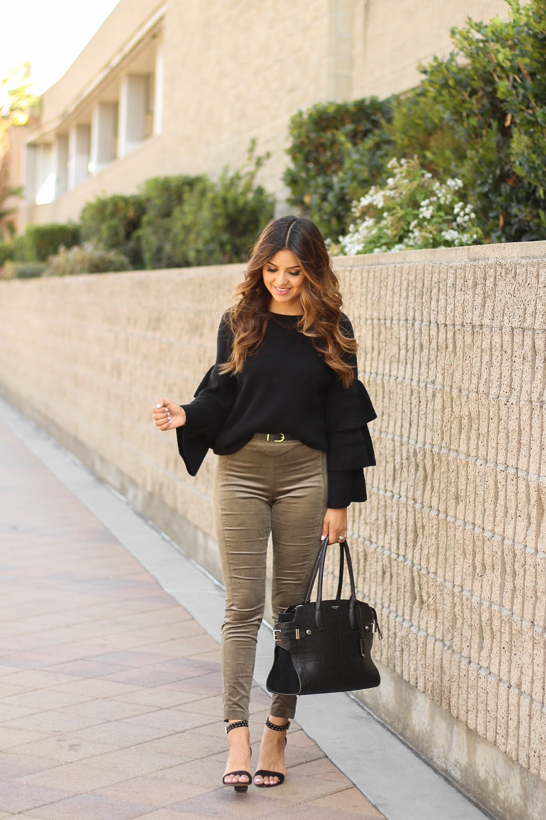 Black Ruffle sleeve top and Olive Velvet Pants Outfit