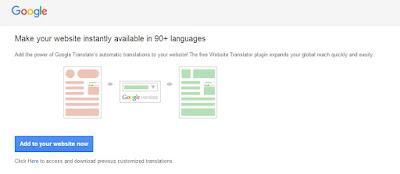 Cara Manual Memasang Widget Google Translate Pada Blog atau Website