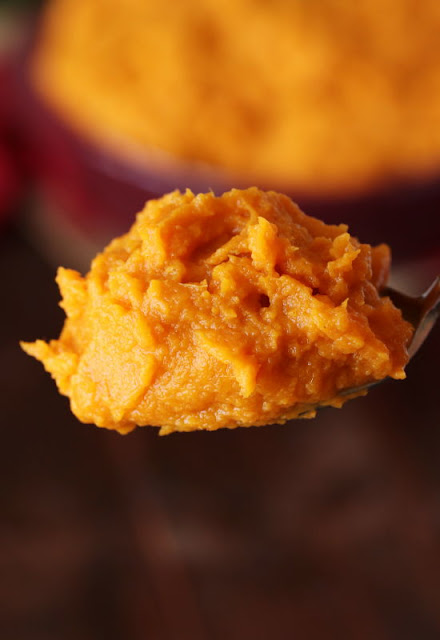 Serving Spoon of Maple Mashed Sweet Potatoes Image