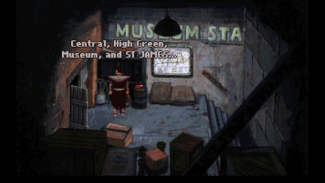 Screenshot of the remains of Museum Station in Beneath a Steel Sky