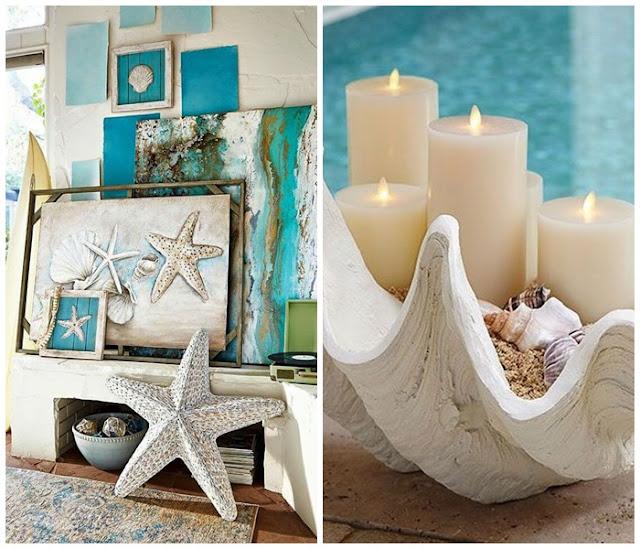 biało niebieskie dekoracje do domu
