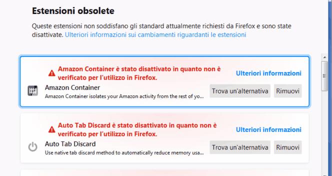Firefox schermata estensioni segnalate come obsolete