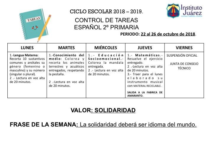 Instituto Juárez 2 Primaria Tareas Del 22 Al 26 De Octubre