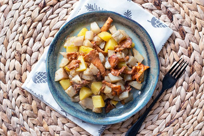 recette Poêlée de topinambours et champignons