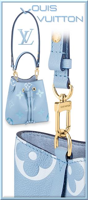Louis Vuitton NéoNoé BB bucket bag in summer blue with Monogram Giant motif #bags #louisvuitton #brilliantluxury