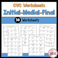 Worksheets using initial, middle, and final sounds of a cvc word