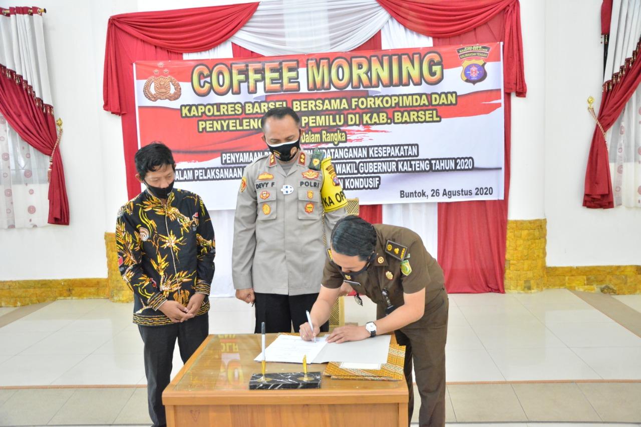 Gelar Coffee Morning, Kapolres Barsel Bersama Forkopimda Tanda Tangani MOU