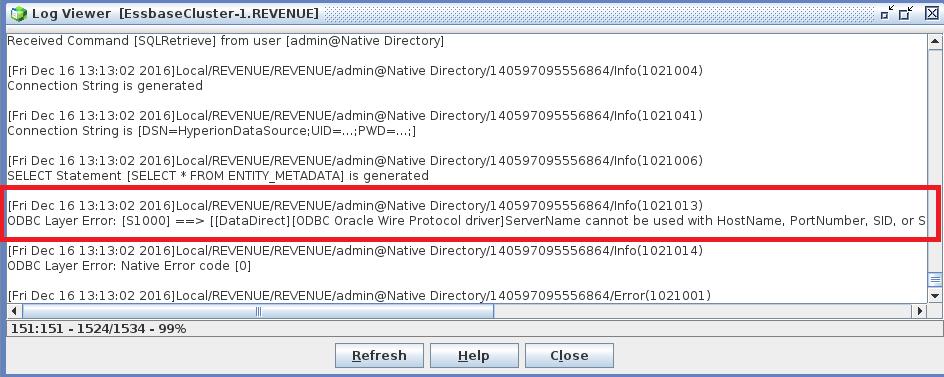 Exploits in Hyperion: Hyperion Essbase - ODBC Layer Error