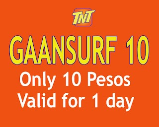 TNT Gaansurf10 -  10 Pesos Internet Promo with 50MB data + 100MB App access