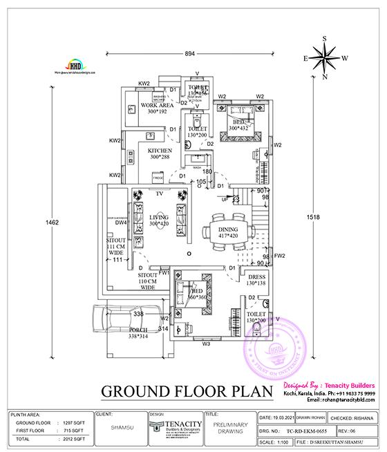 Drawing of Ground floor plan