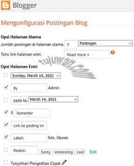 Pilihan Opsi Pada Halaman Post Blogger adalah