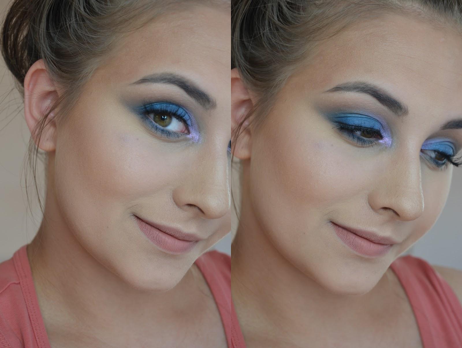 makijaż z wykorzystaniem niebieskiego cienia