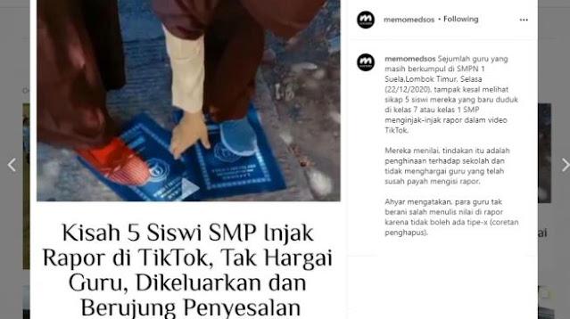 Nangis Terus, 5 Siswi SMP Injak Rapor Demi Konten TikTok Batal Dikeluarkan