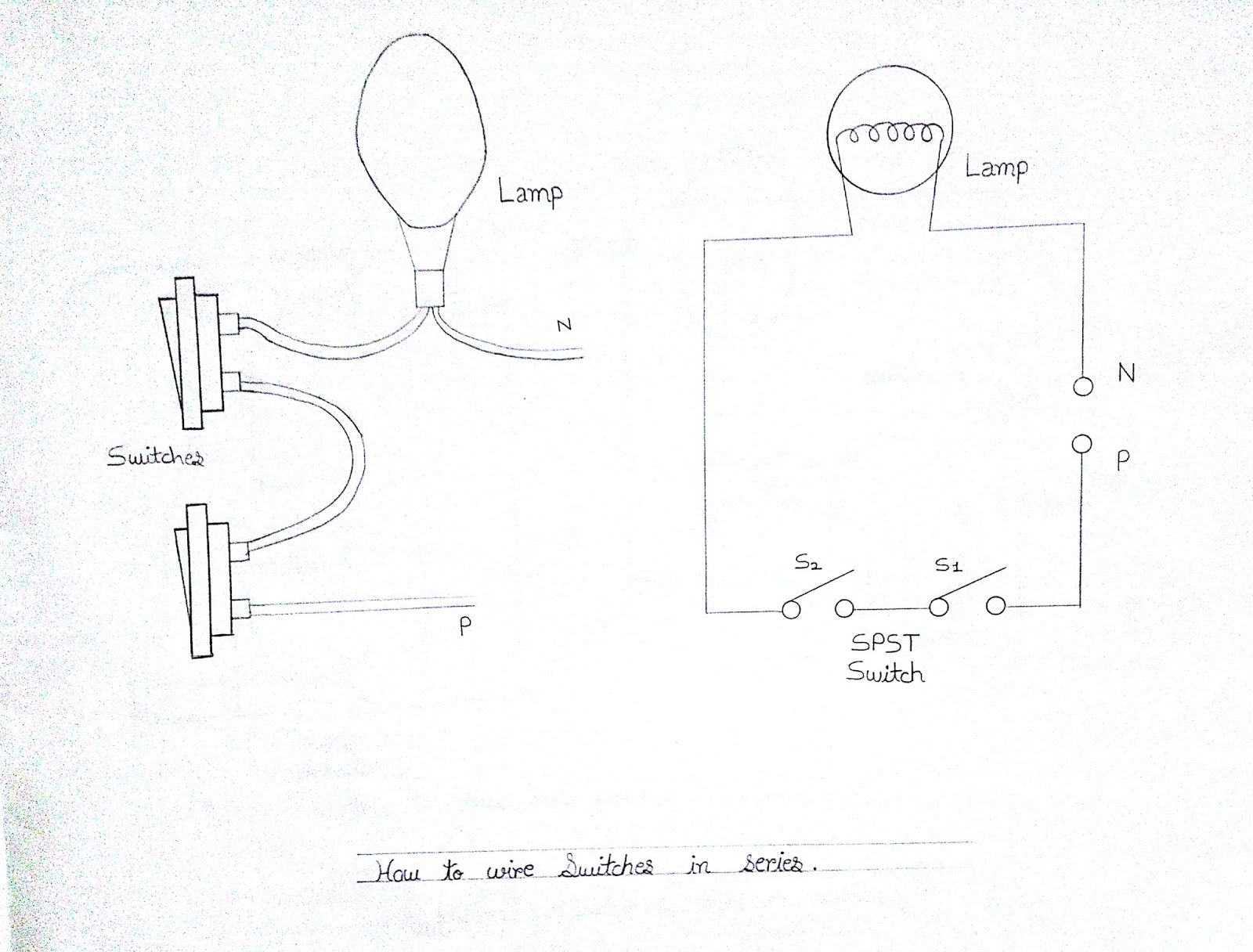 Parallel connection diagram of 2 S.P.Switches with 1 Bulb