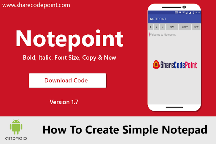 How to create simple notepad android app using android studio