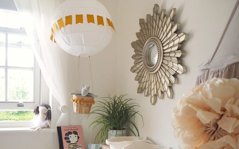 DIY hot air balloon nursery decoration from an IKEA Regolit light shade. Childrens bedroom decor on a budget. Easy DIY craft project you can complete in a couple of hours.