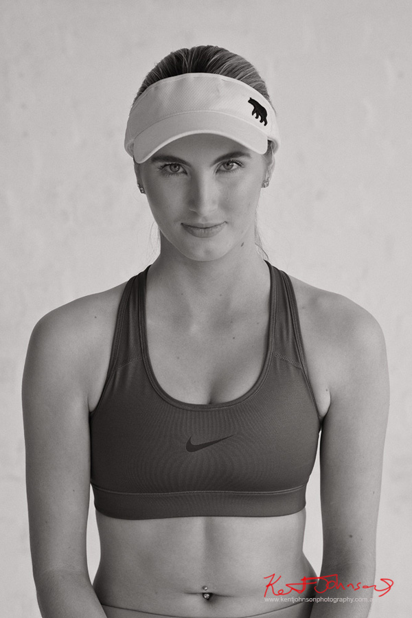 Black & White sports portrait. Studio Modelling Portfolio, Fitness & Fashion by Kent Johnson, Sydney, Australia.