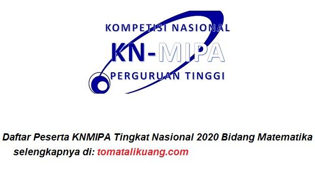 Daftar Peserta KNMIPA Tingkat Nasional 2020 Bidang Matematika tomatalikuang.com