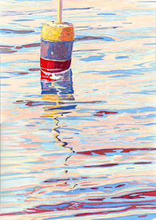 Red Blue Yellow Buoy - Watercolor By Paul Sherman