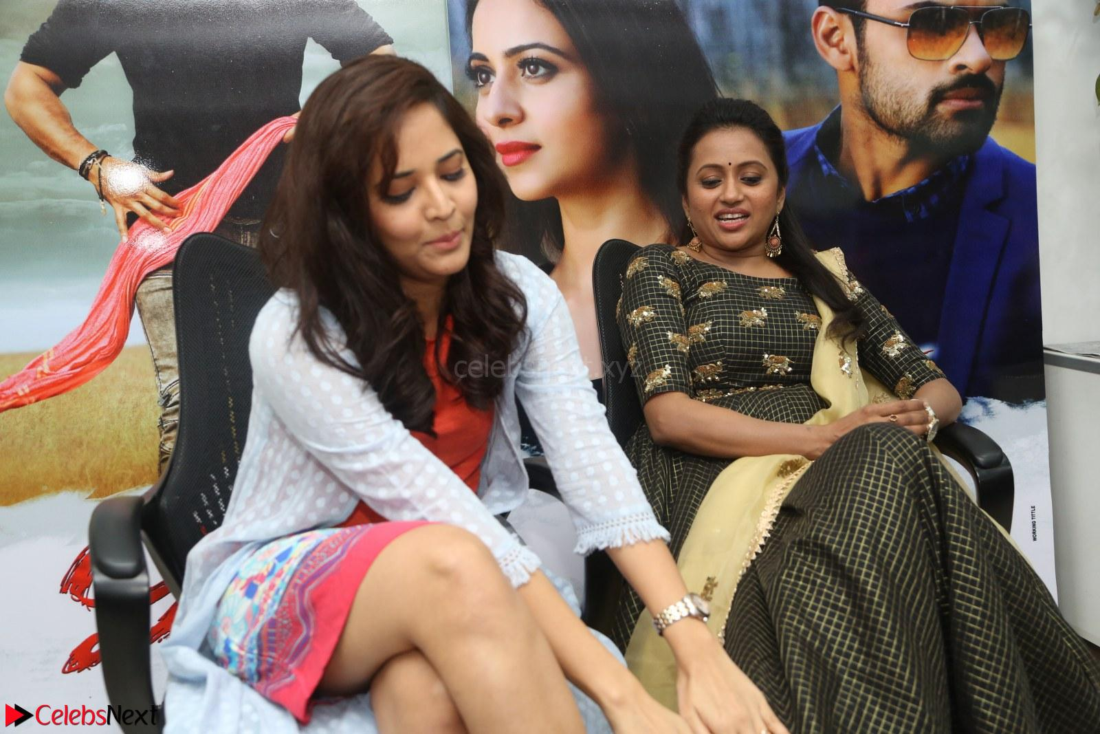 Actress Suma in Black Salwar Suit and Anasuya Bharadwaj in orange Dress at winner movie press meet Part 2