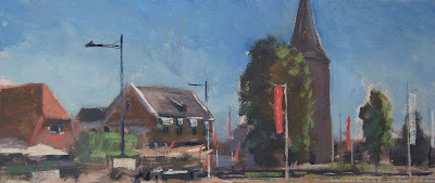 Antoniuskerk Vorden, The Netherlands. Oil on panel. 18 x 40 cm.