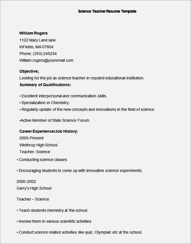High School History Teacher Resume Examples Resume Resource  History Teacher Resume