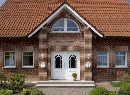 A house made using the brickwork technique with a beautiful facade