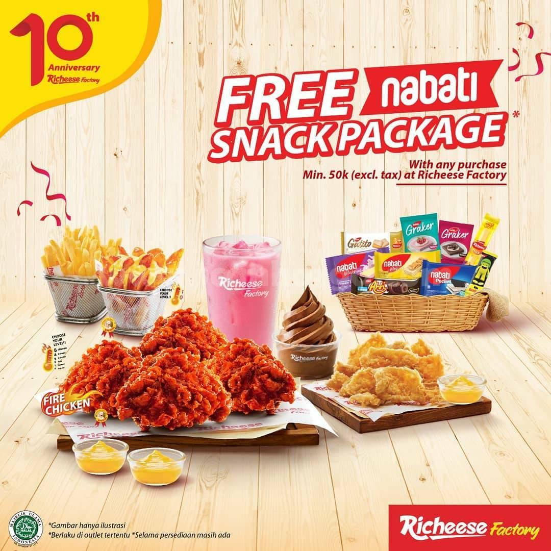 RICHEESE FACTORY Promo 10th Anniversary! GRATIS Paket Snack Nabati