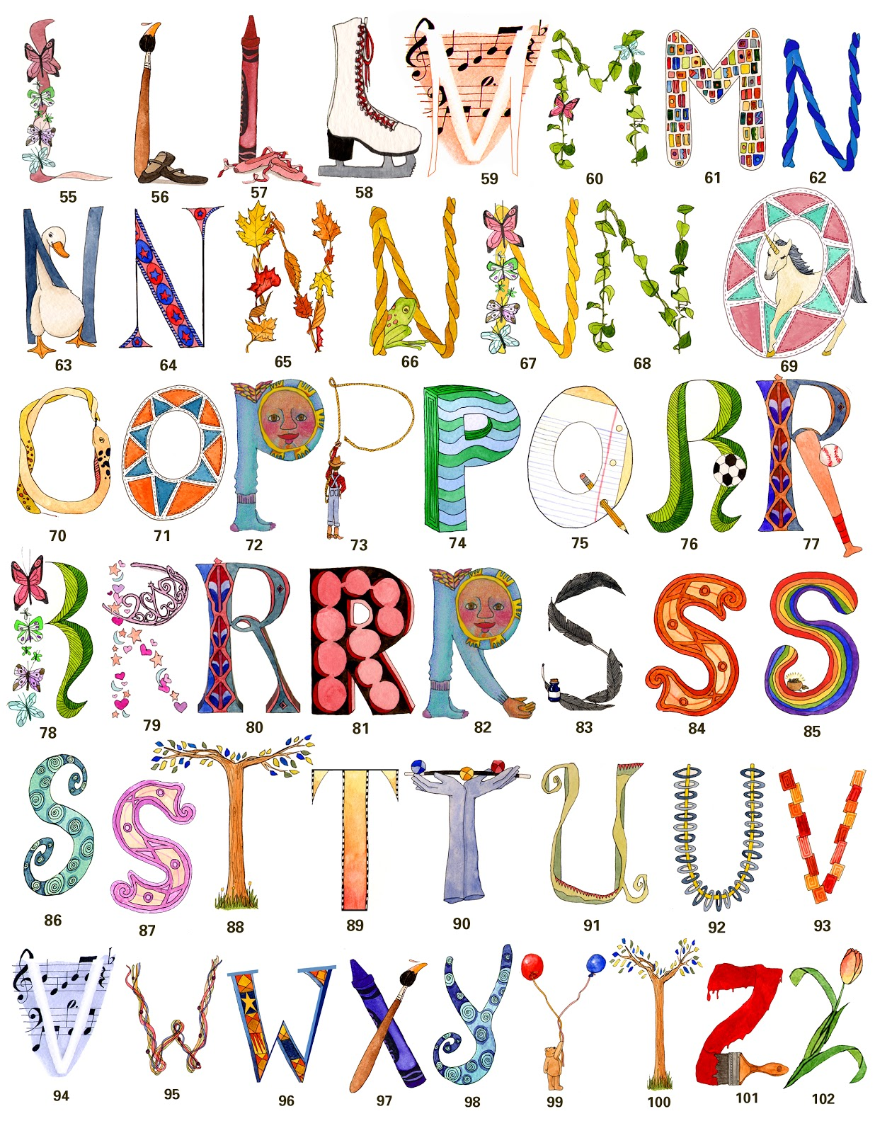 alphabet letter own arts names painting lettering artwork drawings paintings giveaway whimsical letters frugal drawing frugalphillymom philly closed mom calligraphy