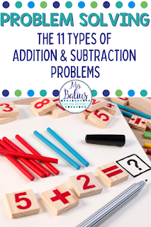This article will detail the 11 different types of addition and subtraction problems found in problem solving.  Learn to identify each type and teach them to your students.  This is the first post in a 5 part series of problem solving in the primary classroom.