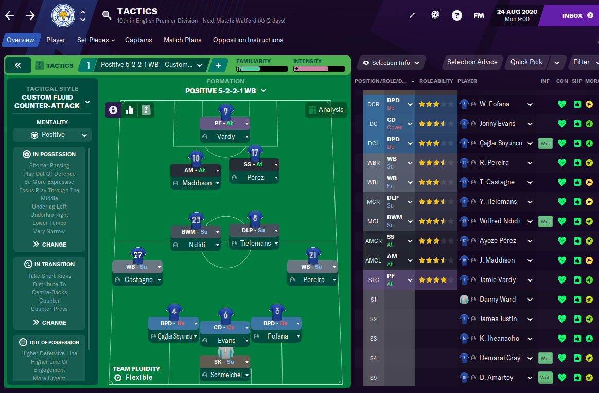 Football Manager 2021 Leicester City - Tactic