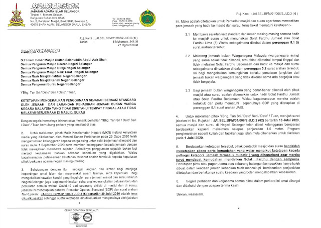 Selangor Tetapkan Mengekalkan SOP Membawa Sejadah Dan Larangan Kehadiran Jemaah Bukan Warganegara